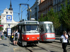 Brno tram No. 1119 and 1911 (johnzebedee) Tags: tram transport publictransport vehicle brno czechrepublic johnzebedee skoda tatra tatrak2 skoda13t