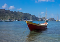 Port Elizabeth on the Caribbean island of Bequia (clive_metcalfe) Tags: boat ocean caribbean bequia portelizabeth mountains hills green blue sky clouds clear