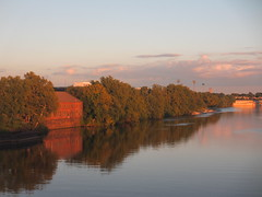 Banks of Delaware River, August evening, Trenton, New Jersey (Paul McClure DC) Tags: aug2014 railroad railway delawareriver trenton mercercounty newjersey scenery architecture historic