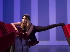 Marijke, Rotterdam 2017: Posing as an art form (mdiepraam (25mln)) Tags: rotterdam 2017 wittedewith art contemporaryart portrait marijke pretty blonde girl woman cinema seats hat