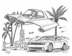 Hellcat (rod1691) Tags: myart art sketchbook bw scifi grey concept custom car retro space hotrod drawing pencil h2 hb original story fantasy funny tale automotive illistration greyscale moonpies sketch sexy
