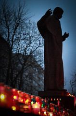 Memorial Day for the victims of the Holodomor (bobobahmat) Tags: euromaydan lviv life lvov ukraine euro city town street color autumn history protest holodomor performer light lights candle memory memorial victims 2013 monument statue red shevchenko taras figure