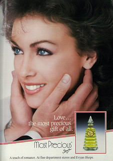 1986 Christmas Ad, Evyan's Most Precious Fragrance, with Beautiful Woman,