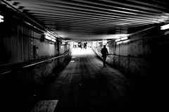 Japanese urban underground passage. (明遊快) Tags: bw urban osaka japanese underpass contrast light shadow city station street road alley dark