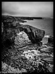 Green Bridge of Wales; Pembrokeshire_Silver Efex Pro2 B&W Conversion (Mick PK) Tags: bw canon canonpowershtg15 greenbridgeofwales pembrokeshire pembrokeshirecoast pembrokeshirecoastnationalpark places silverefexpro2 uk wales