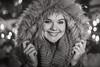 Happy (Stefan Sellmer) Tags: lights bokeh portrait winter eyes blackwhite night woman happy headshot