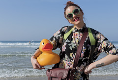Laura, French standup artist, visiting Israel with her duck (Poupetta) Tags: stranger laura telaviv duck