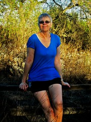 Nature Girl (jazzmoon12) Tags: woman outdoors blue blouse shorts nature sunglasses hiking relax wife joy pretty wonderful wise legs body adventure fun mature smart female strong intelligent california smile natural cute healthy super casual beautiful sixties active amazing people