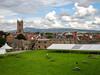 DSC04048a (Dunnock_D) Tags: uk unitedkingdom britain england shropshire blue sky green grass ludlow castle lawn stone walls stleonard cathedral grey cloud cloudy