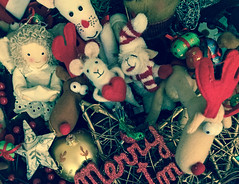 Christmas Tree Friends (Katrina Wright) Tags: christmas img09812 decorations merrychristmas mouse angel reindeer rudolph star bauble felt sliderssunday hss