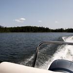 Leaving the marina on the Heart Lakes, Prince Albert National Park thumbnail