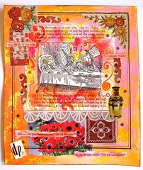 A Mad Tea Party (collageDP) Tags: collage mixedmedia brightcolors colorful aliceinwonderland teaparty madhatter marchhare book classicbook illustration old vintage alteredart bookpage alteredbook