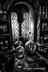 The Window (Holfo) Tags: harrypotter window bottles potions studios blackwhite monochrome leaded glass nikon d750 hdr bw films set containers jars effects uk old ancient arched leadedwindow fantasy super