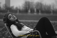 I always think of you (TheJennire) Tags: photography fotografia foto photo canon camera camara colours colores cores light luz young tumblr indie teen people portrait beret 2018 50mm paris france europe fashion turtleneck outfit love quote blackandwhite girl makeup trip winter cold