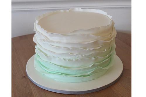 Sea Foam Ombre Ruffle Cake