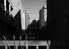 Alley (ddurham000) Tags: alley shadows santafe newmexico fence gates windows blackandwhite