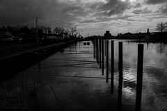 Poles from the sea (Hundra Kontrast) Tags: water sea sweden karlshamn blekinge blacknwhite blackandwhite greyscale clouds sky himmel