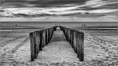A walk on the beach soothes the soul (Peter Jaspers (sorry less time to comment)) Tags: frompeterj© 2018 olympus zuiko omd em10 winter zeeland zoutelande beach seaside seashore breakers zwartwit bw blackwhite hike perspective view sky clouds 169 widescreen zeebrugge