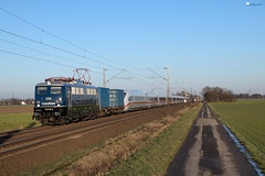 "110 278 ""Centralbahn"" mit ICE Überführung - 13.02.2018 - Lindhorst (D) (Frederik L.) Tags: db bahn zug eisenbahn lok lokomotive baureihe 110 e10 centralbahn privatbahn bahnhof ice lindhorst minden"