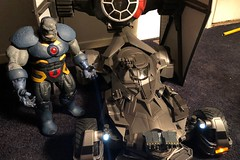 1105-009 Darkseid, TIE fighter, and Batmobile [explore 01-11-18] (misterperturbed) Tags: hasbro tiefighter