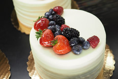 Cake Time (PDX Flyer) Tags: dessert food plate cake fruit strawberry blackberry blueberry white frosting red blue