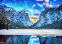 Tears in Heaven II (Gio_ guarda_le_stelle) Tags: dolomiti dolomiten dolomites landscape lake reflections mountainscape hdr ps lago dobbiaco toblach trees snow ice alps sunset twilight sera bello atmosphere quiete quiet canon