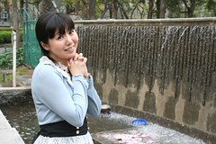 Girl Just Wanna Hear Funtain (emotiroi auranaut) Tags: girl woman lady fountain waterfall water pretty lovely beauty beautiful park nature nice female feminine femininity