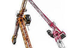 Two Cranes. A pair. (CWhatPhotos) Tags: cwhatphotos two duo both pair red yellow claypath kwik fit garage construction build building work high rise crane cranes x canon 7d eos digital camera pictures picture image images photo photos foto fotos that have which contain pic art artistic view