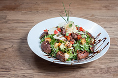 Beef Salad (dokson_) Tags: food beef mushrooms tomatoes sauce dressing vegetables fresh grill cooked salad cheese lettuce bread meat plate bowl table wood meal delicious restaurant diner lunch healthy canon 50mm