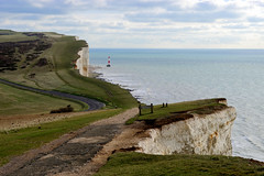 Beachy Head (Geoff Henson) Tags: cliff chalk grass sea ocean sky lighthouse water road path 1000v40f