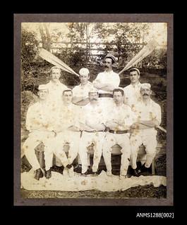 Sydney Rowing Club Eights crew in a bush setting, 1880-1909