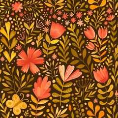 Watercolor floral seamless pattern. Handdrawn botanical backdrop (lubov-markov) Tags: abstract autumn background bloom blossom bouquet brush cartoon celebration colorful curl curtain daisy decoration design draw drawing element fabric floral flourish flower foliage forest graphic handmade illustration ink leaf natural nature organic ornament packaging paint repeat retro romantic seamless seasonal sketching species spring springtime summer surface valentine wallpaper watercolor wrapping