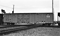 Union Pacific boxcar at Colton Crossing in 1983 0250 (Tangled Bank) Tags: train trains railway railways railroad railroads north american old classic heritage vintage rolling stock freight cars equipment union pacific boxcar colton crossing 1983 0250 up