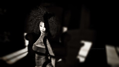 I Still Can't Tell (Gianmario Masala [inworld]) Tags: photoshop blur blurry mono monochrome gianmariomasala blackandwhite highandlowkey shadows photograph dark curly hair aboutyouandme motion grain girl woman female lips eyes tattoo toned portrait face annamariabellah