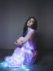 I am right here (stephlyy) Tags: portrait photography girl woman dress see through led lights string brown hair eyes beautiful simple less is more nikon d800 2870mm lens 28mm elegant piercing profile pink dark single light ice