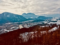 Kufstein, Tyrol, Austria, in the river Inn valley with the Alps in winter seen from Thierberg (UweBKK (α 77 on )) Tags: kufstein tyrol tirol austria österreich europe europa river inn valley alps mountains sky grey clouds winter cold snow panorama scenic landscape iphone trees thierberg