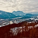 Kufstein, Tyrol, Austria, in the river Inn valley with the Alps in winter seen from Thierberg thumbnail