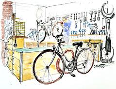 Niort, Le beau vélo de Robigo (Croctoo) Tags: croctoo croctoofr croquis crayon aquarelle watercolor bicyclette biclou velo vélo niort poitou poitoucharentes magasin atelier mécanique mecanique