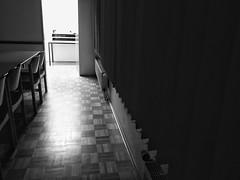 Woe to you, oh earth and sea.... (frankdorgathen) Tags: monochrome blackandwhite room ruhrpott ruhrgebiet essen indoor light dark chair parquette wood floor window shutter blinds
