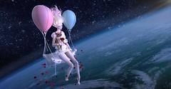 Somewhere Out There (tamarind.silverfall) Tags: cocodoll doll space outerspace roses chihuahua fly feeling petals elf