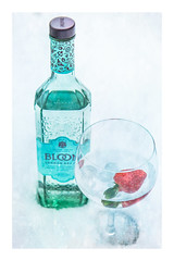 62/365: Bloom where you're planted... (judi may) Tags: 365the2018edition 3652018 day62365 03mar18 bloom gin snow strawberry glass bottle texture canon7d dof depthoffield photoborder productshot stilllife bloomgin aratherlovelybottle