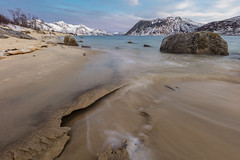 Frozen Sand (Role Bigler) Tags: canoneos5dsr sigma14mm18art troms arctic beach cold frozen manfrottotripod mountains norway rock sand sea shore snow ultrawideangle wideangle winter