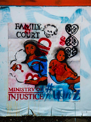 Family Court (Steve Taylor (Photography)) Tags: familycourt ministryofinjustice ministryofjustice questionmark dollar mother child skull bond pasteup wheatup wheatpaste streetart poster black blue red white woman lady kid newzealand nz southisland canterbury christchurch newbrighton