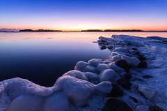 The Sweet Silence (tinamar789) Tags: ice icy winter snow sea seashore seascape sunset bluehour cold light rocks lauttasaari helsinki finland