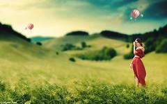 Got the Mid-Winter Blahs? (gusdiaz) Tags: photoshop photomanipulation digital art arte artistico model modelo woman mujer spring primavera invierno winter campo paisaje balloons globos cielo nubes bokeh depthoffield beautiful relaxing awesome
