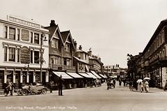 Calverley Road, Tunbridge Wells (footstepsphotos) Tags: tunbridge wells kent calverley road grosvenor shop store policeman people car old vintage postcard past historic kelsey