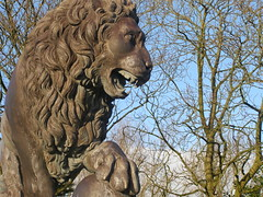 Lion #2 (matthewcaddickphotography) Tags: blackpool stanley park statues birds water sea lake photography image photo bird flight trees nature bush ledge platform wall fence stone black branch leaf leaves picture day pictureoftheday building estate sculpture architecture clock time flickr website lion roman italian woman male blackwhite white inspired sun river feathers