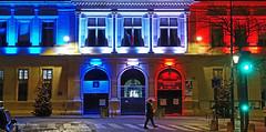 patriotic Paris (albyn.davis) Tags: night light colors bright vivid vibrant lamp lamps red blue paris france europe travel street city urban panorama