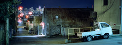 East Van Alley (Orion Alexis) Tags: film 35mm analog cinematic cinestill 800t alley vancouver widescreen fujifilm tx1 xpan panorama canada urban landscape city street photography