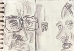 Berühmte Paare aus dem Fernsehen: der jordanische Bauarbeiter und seine Kollegin (raumoberbayern) Tags: zeichnung drawing sketch sketchbook skizzenblock dina5 wohnzimmer livingroom robbbilder graphite grafit stillife stillleben naturemorte fernsehen tv
